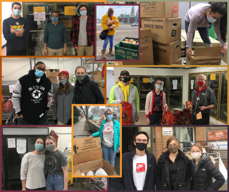 An collage of Friedens' volunteers and staff